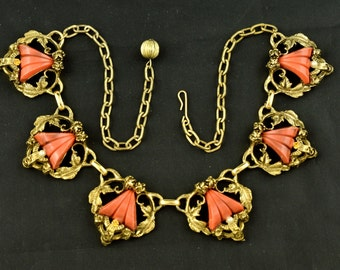 Chunky Vintage Necklace 1960s Flowers Leaves Salmon Colored Plastic ~ Lot 480