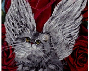 Valentine Angel Cat red roses painting roproduction by Michaeline McDonald