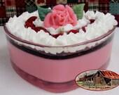 Cherry Marshmallow Cheesecake - Heart Cheesecake Bowl Candle