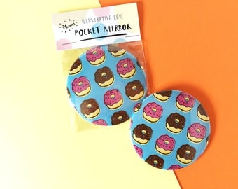 SALE! Doughnut Print Illustrated Compact Pocket Mirror 76mm