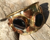 Vintage 70s Brutalist Wide Cuff Bracelet Hammered Chunky Big Bold Mixed Metals Handcrafted Hippie Boho Chic Gypsy