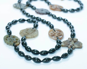 Long Black Onyx and Jade Necklace/ Bohemian Chic/ Gemstone Necklace/ Meaningful Gift