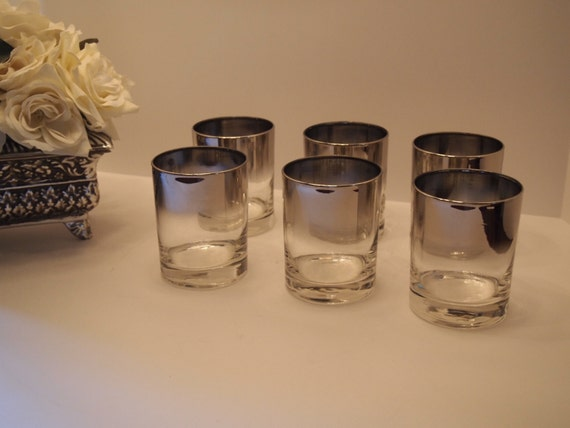 Silver Fade Low Ball  Crystal Glasses   Set of Six