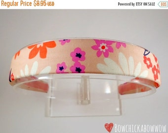 """Retro Floral Fabric Covered Headband for Girls and Women - 1"""" Wide Headband, Blush with Bright Accents - Ladies Headband, Summer Floral"""