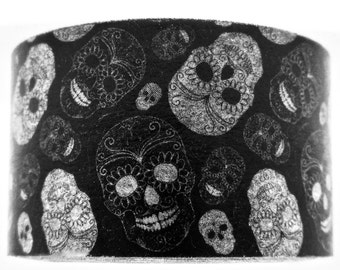 """Exclusive """"Day Of the Dead"""" Dia de los Muetros"""" Wide Washi Tape in Black and White 25mm x 10 meters Wide. Artwork by Alisa Foytik"""