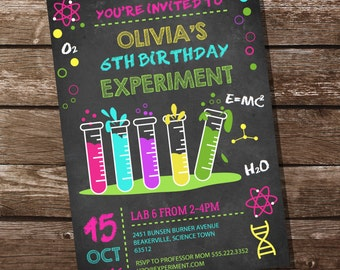 Science Experiment Party Invitation for a Girl - Science Party - Instant Download and Editable File - Personalize at home with Adobe Reader