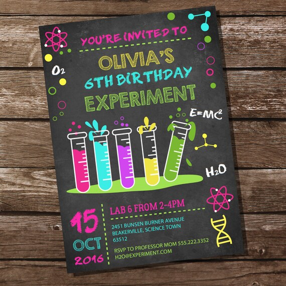 Science Experiment Party Invitation for a Girl Science Party