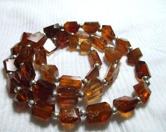 """16"""" Stunning Gem Grade Polished hessonite Nugget Orange garnets beads strands necklace Afghanistan -HE78"""