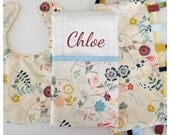 Ready to Ship!...Baby Gift Set...Burp Cloth/Bib/Ribbon Lovey...Wildflowers with Minky...Shower Chic
