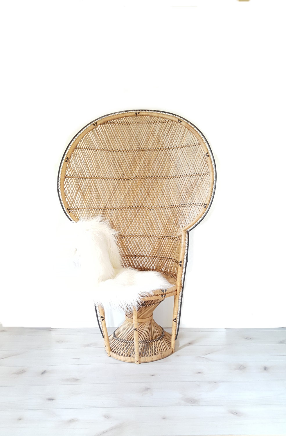 Sold large fan peacock chair rattan full size woven handmade for Wicker meaning