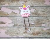 Pink Unicorn Felt Bookmark, Jumbo Paper Clip, Felt Unicorn Bookmark, Xlarge Unicorn Planner Bookmark, Teachers Gift Jumbo Felt Paperclip