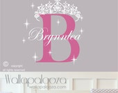 Princess wall decal - Crown wall decal - girls nursery wall decal - custom name princess sticker - girls name wall decal - princess sticker