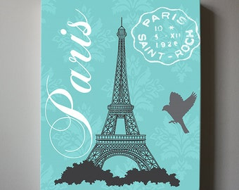Eiffel Tower Canvas Art Paris Bedroom Decor, Girls Room Decor, Teen Or Girl  Nursery
