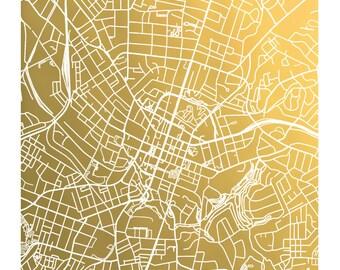 Greenville, SC Gold Foil Map Print, Greenville South Carolina Map, Greenville SC Print, Gold Foil Print, Greenville Art, Map Wall Art