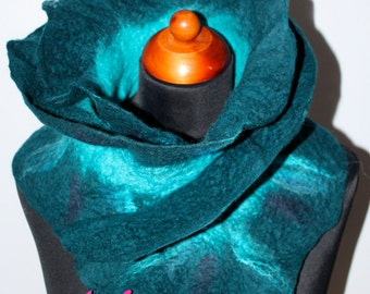 SALE !!! Handmade Merino Wool Felted Ruffle Teal Turquoise Blue Scarf Wearable Art