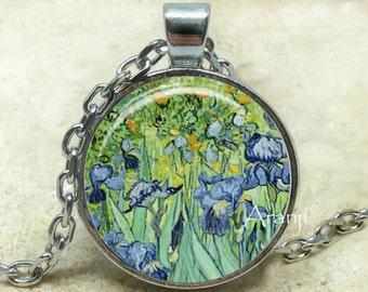 Vincent Van Gogh - Irises art pendant, Van Gogh pendant, Van Gogh necklace, Irises pendant, Van Gogh Irises, fine art, Pendant #AR102P