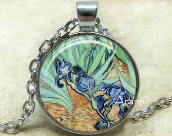 Vincent Van Gogh - Irises (close-up detail) art pendant, Van Gogh necklace, Van Gogh jewelr, Irises necklace, Iris pendant, Pendant #AR103P