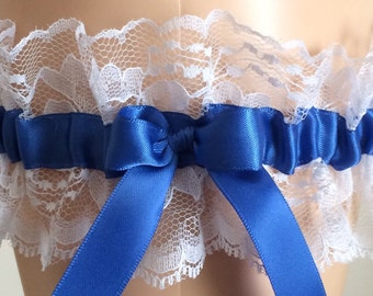 Royal Blue Wedding Garter, Bridal Garter, Royal Blue and White Lace Wedding Garter, Keepsake Garter, Prom Garter