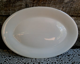 Antique Large Plain White Ironstone Platter, Oval White Ironstone Platter, French Country, Farmhouse Decor, Rustic, Plain White, Large