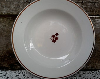 "Vintage Copper ""Tea Leaf"" Soup Bowl, Wedgwood & Co., Royalstone China, Lustreware Ironstone,  England, Kitchen Decor, 8 3/4"" wide"