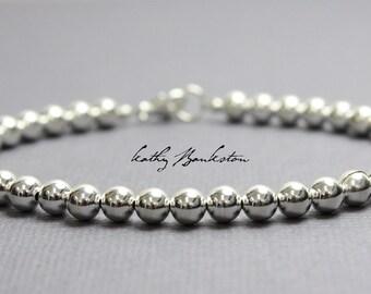 Silver Bead Bracelet, 5 mm Sterling Silver Bracelet, Silver Beaded Bracelets, Silver Bracelet, Sterling Bracelet, Kathy Bankston