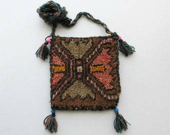 70s Kilim Carpet Pouch Crossbody Bag, Tapestry Woven Textile Purse, Boho Festival
