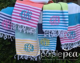 Turkish Towel-Monogrammed, Monogrammed turkish towel, Monogrammed Towel, Beach Towel, Graduation, Birthday, Turkish Towel, Peshtemal