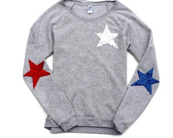 4th of July Shirt. Stars and Stripes Sweatshirt. Sequin 4th of July. Red White Blue. USA. Fourth of July.  Sequin Star Shirt. American Flag