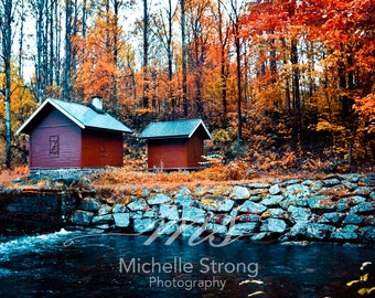 Nature Photography, Red Barn Photography, River Prints, Autumn Photography, Landscape Prints, Rustic Prints, Seasonal Photography, Americana