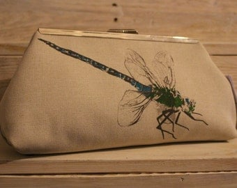Screen-printed Beige Dragonfly Clutch Bag