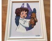 "Signed, Framed Hand Painted Animation Cel - ""You Hear That, Chew? Our Message Worked!"" (Star Wars / The Rescuers / Wookiee the Chew)"
