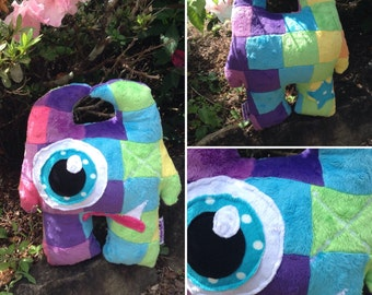 OOAK Handmade Soft Minky Rainbow Patchwork One-Eyed Monster Plush Baby Toddler Softie Toy Gift