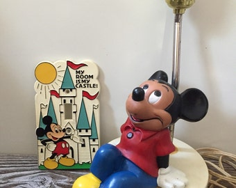 Vintage Disney Mickey Mouse Lamp, Switch Plate-My Room is my Castle