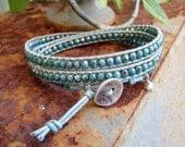 Handmade wrap bracelet with turquoise gold bronze fire polished czech glass beads