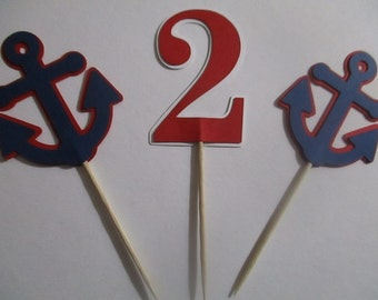 12 Navy Blue and Red Anchor Age Cupcake Toppers, for Birthday, Baby Shower, Nautical Red White Navy