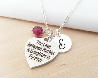 Mother and Daughter Necklace - Mother Necklace - Birthstone Necklace - Personalized Necklace - Initial Necklace - Sterling Silver Necklace