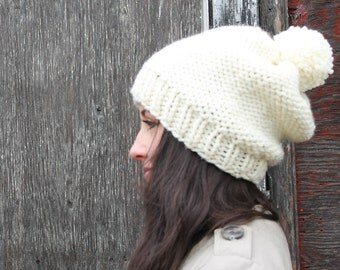 Slouchy Chunky Knit Pom Pom Hat . Canadian Made . FREE SHIPPING   {  Cream  }