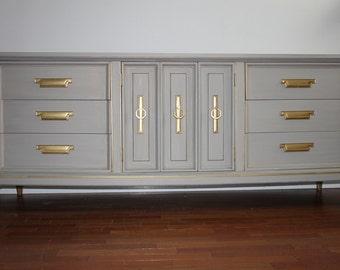 Mid Century Grey Dresser/Long Dresser/Changing table