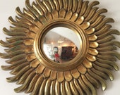French Gilt Sunburst Convex Mirror