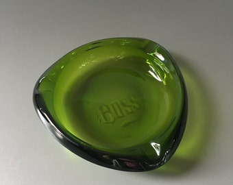 vintage heavy green glass cigar ashtray etched BOSS