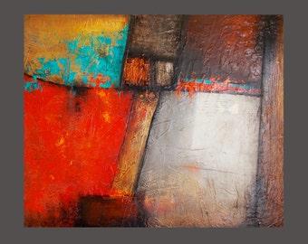 Reduced !!! - Moder ART - Wall Art Contemporary Painting Modern Landscape Fine Art RED - BLACK  !!!