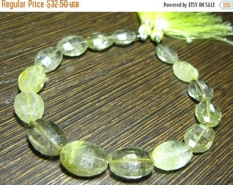 "MEGA SALE Golden Rutilated Quartz Step Cut Oval Nuggets 7.5"" Strand -Stones measure- 9x11-11x14mm"
