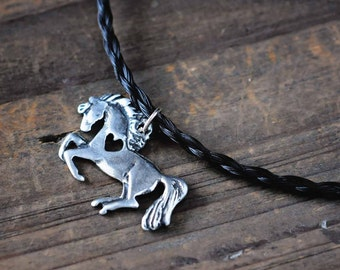 Horse Necklace   Horse Heart Necklace   Pony Charm   Equestrian Jewelry   Heart and Horse Pendant   Horse Lover Gifts   Gifts for Her