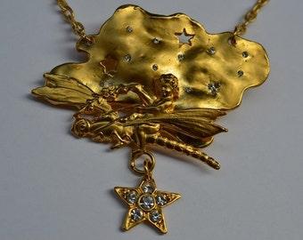 CHERRY CHAU Necklace Gold Matte Tone Chain Pendant  Elf Dragonfly Clear Swarovski Crystals