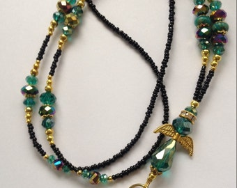 LBD008  Angelic Teal, Vitrail and Black Lanyard