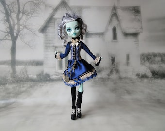 Blue, black and light brown gothic lolita steampunk dress and legwarmers hand made fits Monster High