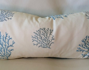 Pair of Coral Design Pillow Covers-12 X 22 Inch-Embroidered Blue Coral Design-Accent Kidney Pillow Cover-Free Shipping.