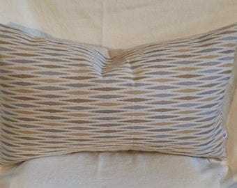 Single Lumbar Decorative Pillow Cover-14 X 23 Inch Gold and Gray Geometric Design-Accent Kidney Pillow Cover-Free Shipping.