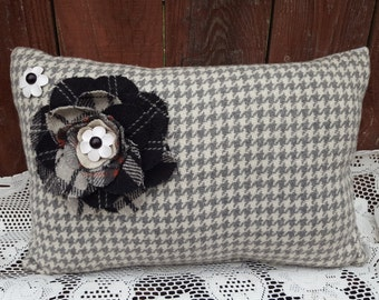 beautiful tapestry felt throw vintage spring decorative pillow w/ red white black grey flowers houndstooth earrings buttons hand made