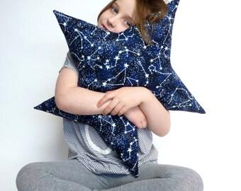 star pillow // glow in the dark pillow // constellation star pillow // night sky cushion